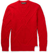 red cable knit sweater men's - ShopStyle