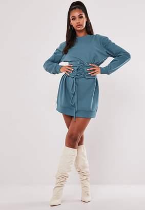 Missguided Blue Corset Waist Sweater Dress