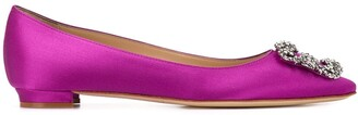 Manolo Blahnik .satin Hangisiflat ballerina shoes