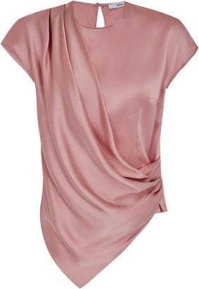 Safiyaa Linda Draped Silk-Satin Top