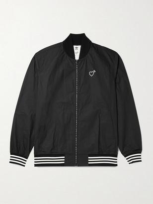 adidas Consortium - Human Made Logo-Print Striped Crinkled-Shell Track Jacket - Men - Black