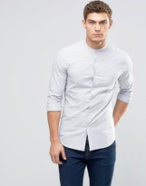 Asos Skinny Shirt With Navy Broken Stripe With Grandad Collar