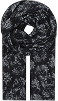 The Kooples Floral Skull Modal And Wool-blend Scarf