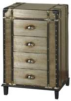 Stylecraft 4 Drawer Steamer Trunk Chest with Leather and Brass Trim - Silver