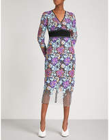 Diane von Furstenberg Honeycomb lace-embroidered fitted lace midi dress