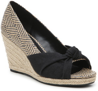 Women's Ivala Espadrille Wedges Sandals Black/natural Size 5 Printed fabric or raffia upper From Sole Society