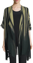Caroline Rose Exotic Elements Open-Front Cardigan, Moss/Black, Plus Size