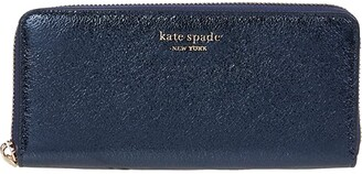 Kate Spade Spencer Metallic Slim Continental Wallet (Metallic Night) Handbags
