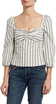 Pinko Striped 3/4-Sleeve Button-Down Blouse