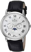 Edox Men's 'Les Bemonts' Swiss Quartz Stainless Steel and Leather Dress Watch, Color:Black (Model: 40002 3 AR)