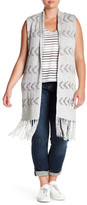 BB Dakota Shawl Neck Fringed Vest (Plus Size)