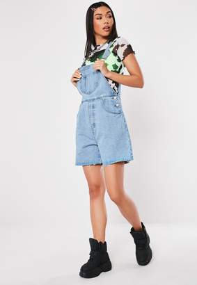 Missguided Blue Boyfriend Short Denim Dungarees