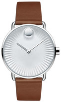Movado 40mm Edge Watch with Leather Strap, Brown/Gray