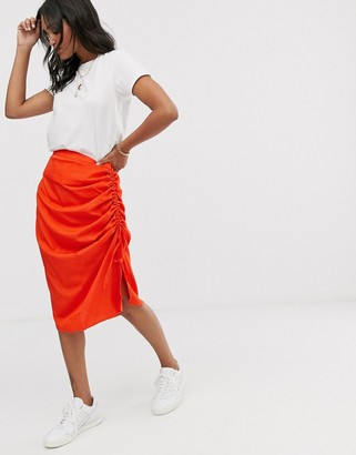 Vero Moda neon gathered side bias cut midi skirt