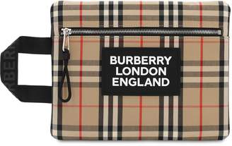 Burberry LOGO PATCH CHECK HANDLE POUCH