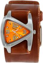 Nemesis Watch Nemesis Women's BHST024N Triangle Orange Triangle Brown Leather Cuff Band Watch