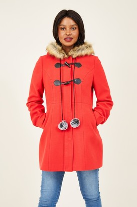 Yumi Red Duffle Coat With Pom-Poms