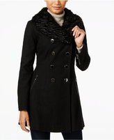 GUESS Faux-Fur-Collar Double-Breasted Walker Coat