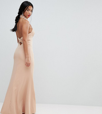Jarlo Petite High Neck Ruched Open Back Maxi Dress
