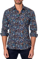 Jared Lang Floral-Print Sport Shirt, Black
