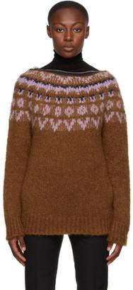 Raf Simons Orange Mohair Zip Collar Sweater