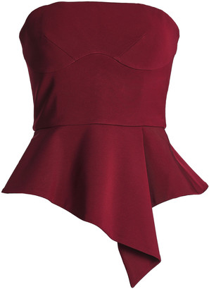 Cushnie Strapless Stretch-knit Peplum Top