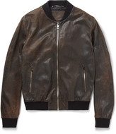 Dolce & Gabbana - Distressed Leather Bomber Jacket
