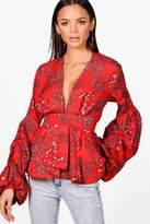 boohoo Tall Skye Floral Print Ruffle Sleeve Blouse