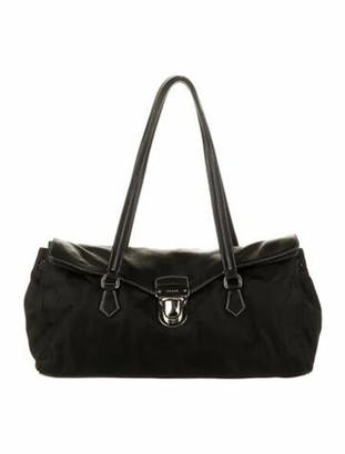 Prada Leather-Trimmed Tessuto Shoulder Bag Black