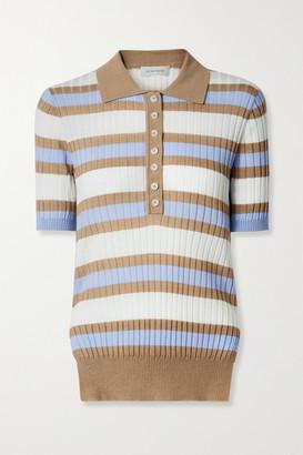 Lee Mathews Striped Ribbed Tencel Polo Shirt