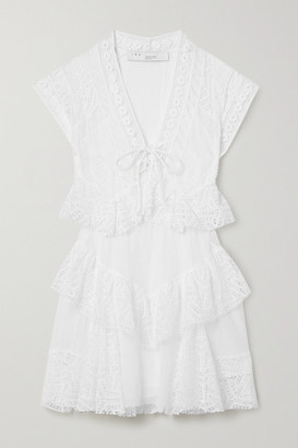 IRO Fairy Lace-up Tiered Crocheted Cotton Mini Dress - White