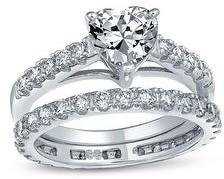 Bling Jewelry 1CT AAA CZ Heart Shape Wedding Engagement Ring Wedding Band Set