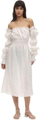 Sleeper Michelin Floral Print Linen Midi Dress