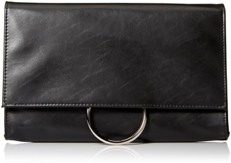 Jessica McClintock Women's Nora Solid Large Envelope Clutch with Ring Closure