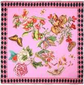 Gucci Gg Chain Bouquet Printed Silk Scarf