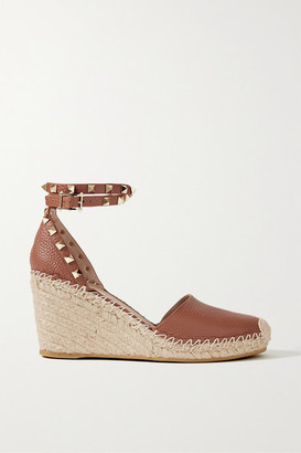 Valentino Garavani Rockstud 85 Textured-leather Wedge Espadrilles - Brown