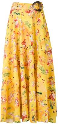 Isolda Dora linen printed skirt