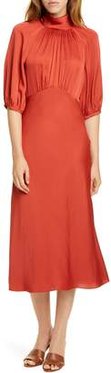 Rebecca Taylor Tie Neck Satin Dress