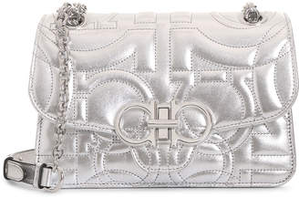 Salvatore Ferragamo Gancini Quilted silver leather shoulder bag