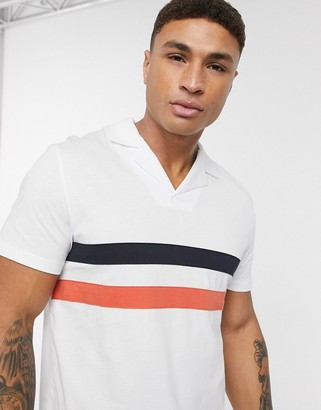 ASOS DESIGN polo shirt with revere collar and chest stripes in white