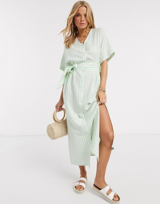 Pieces maxi dress with side split and tie waist in green stripe