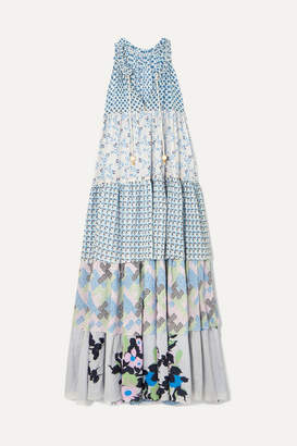 Yvonne S Hippy Tiered Printed Cotton Maxi Dress - Light blue