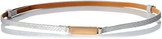 elise m. Women's Sheena-Vegan Skinny Metallic Adjustable Belt with Plaque Front Closure
