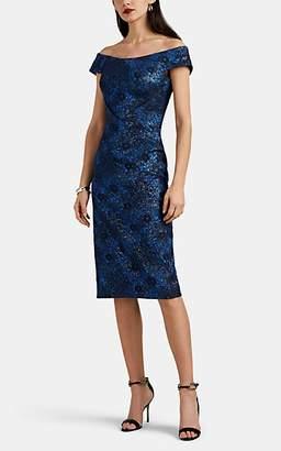 Zac Posen Women's Metallic Floral Jacquard Off-The-Shoulder Dress - Blue Pat.