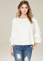 Bebe Ruffled Long Sleeve Tee