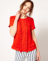 Jaeger Boutique by Silk Blouse with Frill Front
