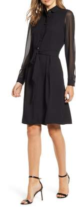 Anne Klein Long Sleeve Chiffon & Crepe Shirtdress