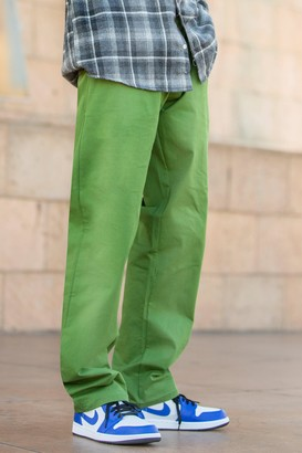 boohoo Mens Green Skate Fit Cargo Trouser With Waist Detail, Green