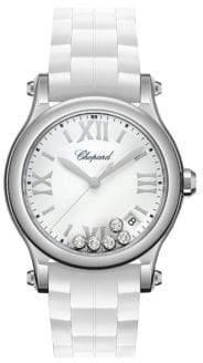 Chopard Happy Sport Diamond, Stainless Steel& Rubber Strap Watch