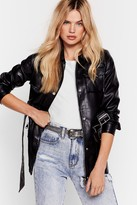Nasty Gal Womens Don't Faux Leather Let Me Go Belted Jacket - black - S